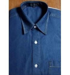 Camisa jeans masculina azul,  manga curta esporte fino, cód 1188