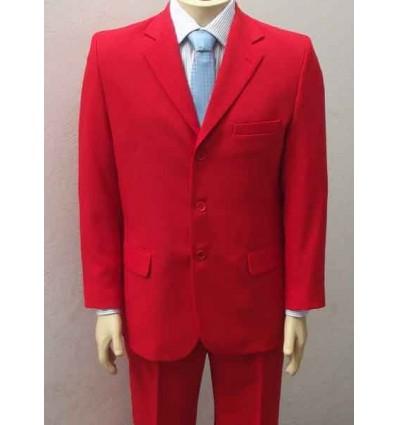 Terno vermelho com 3 botões, corte tradicional  de microfibra.  Ród 1364-3B Entrega imediata