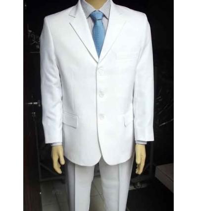 Fredao Moda Masculina Terno branco tradicional de 3 botões em microfibra oxford. Ref. 1364 Entrega imediata com todas garantias