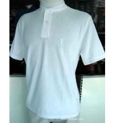 Camiseta branca gola portuguesa em tecido de ótima qualidade com perfeito caimento, cód 1202