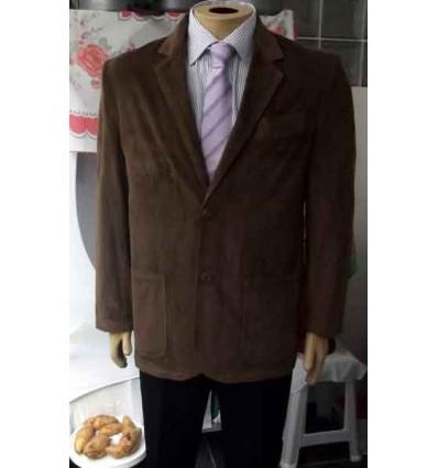 Blazer marrom de puro algodão em tecido com desenho de veludo e forro de poliéster, cód 964