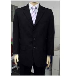 Costume preto em tecido risca magnetada, corte italiano, cod 1264PR